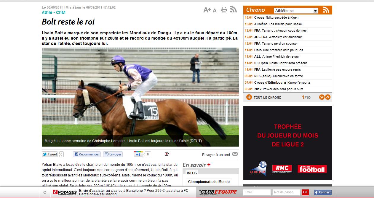 Humour : L'equipe.fr affiche un jockey sur son cheval pour illustrer Usain Bolt