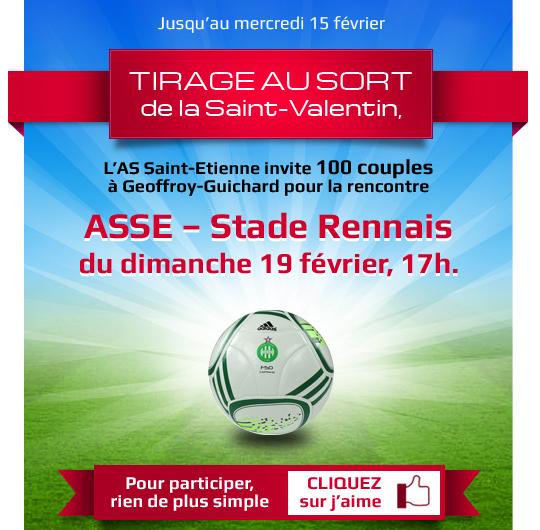 Saint-Valentin : L'ASSE invite 100 couples au stade le 19 février