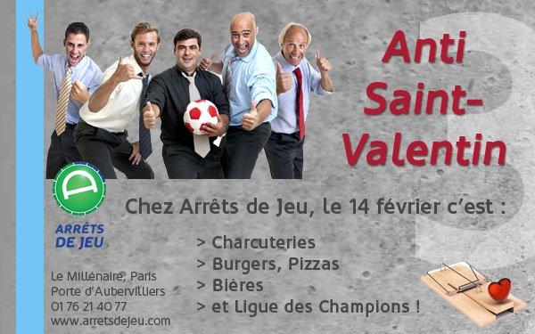 Ce soir chez Arrêts de jeu, c'est soirée «Anti Saint-Valentin». Burgers, bières et Ligue des Champions !
