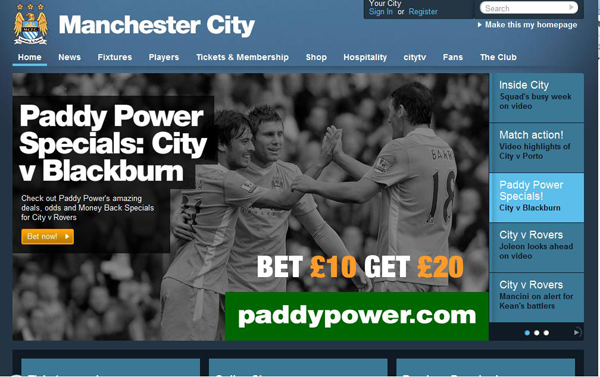Manchester City parie sur Paddy Power