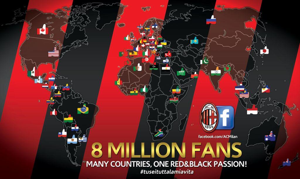 Le Milan AC dépasse les 8 millions de fans sur Facebook