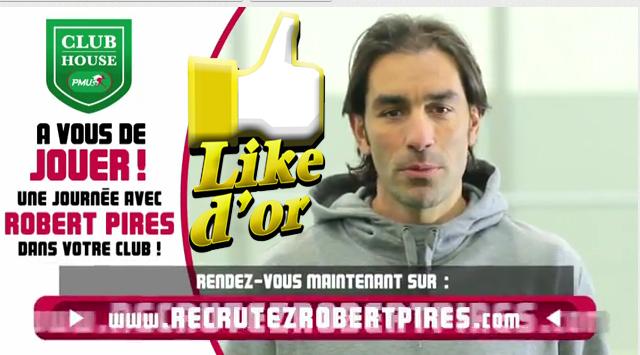 Le PMU et Robert Pirès remportent le Like d'Or (Mars 2012)