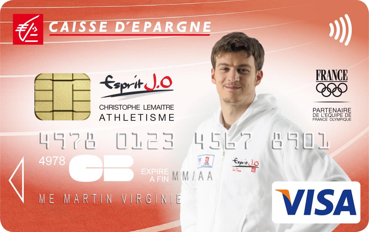 Christophe Lemaitre présent sur les cartes bancaires de la Caisse d'Epargne