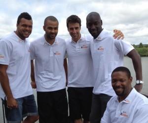 Tony Parker, Jo Wilfried Tsonga, Tony Estanguet en visite au Village Kinder