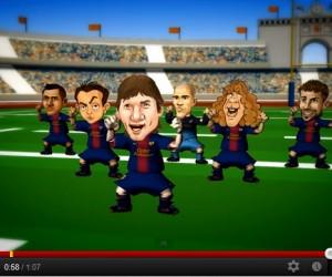 Les Barça Toons et Abidal célèbrent le match de rugby USAP-Stade Toulousain