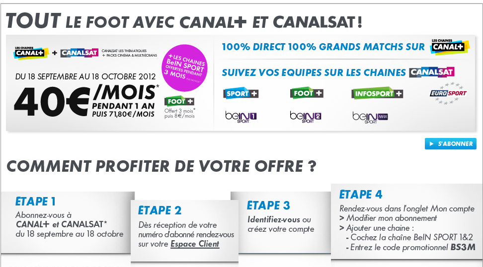 bein sport offerts 3 mois et devient un argument commercial pour canal. Black Bedroom Furniture Sets. Home Design Ideas