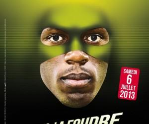 Usain Bolt en vengeur masqué pour le Meeting AREVA le 6 juillet 2013 au Stade de France