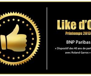 BNP Paribas vainqueur du Like d'Or – Printemps 2013