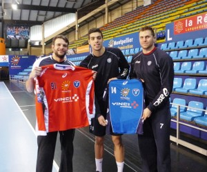 Vinci Autoroutes sur le maillot du Montpellier Handball pour un match face à Nîmes