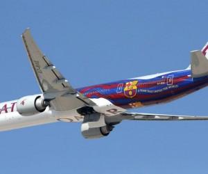 Un Boeing 777 Qatar Airways aux couleurs du FC Barcelone