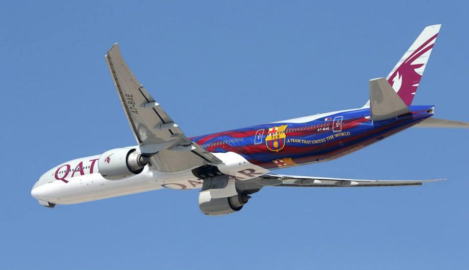 Boeing 777 Qatar Airways FC Barcelone