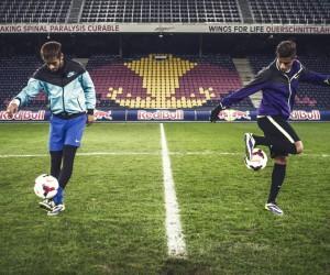 Quand Neymar affronte Hachim Mastour sur le terrain et sur FIFA14 pour Red Bull