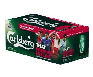 Carlsberg active son partenariat avec la Premier League en France en affichant Giroud, Lampard et Gerrard sur ses packs