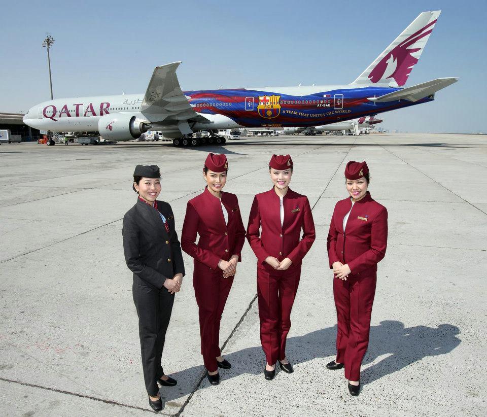 fc barcelone avion boeing 777 qatar airways