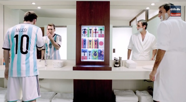 lionel messi et roger federer s 39 affrontent dans une publicit pour gillette. Black Bedroom Furniture Sets. Home Design Ideas