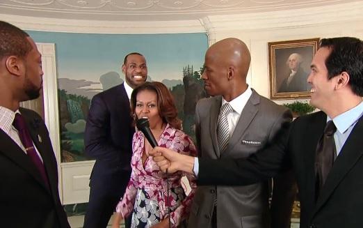 michelle obama dunk lebron james white house nba miami heat