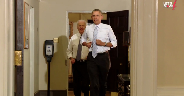 obama biden let's move footing maison blanche
