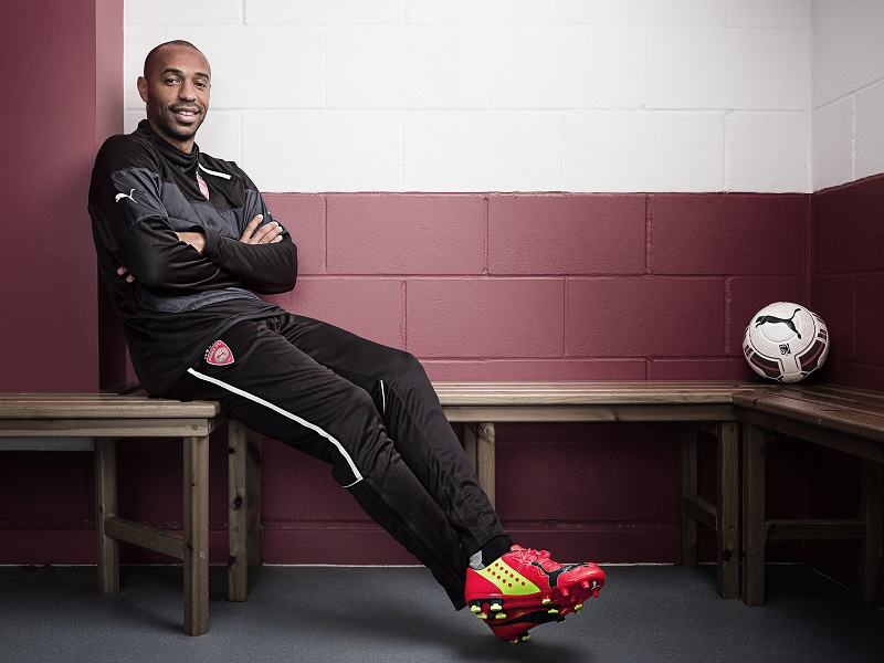Thierry Henry for PUMA photographed at Leyton Orient, December 2013. Wearing PUMA evoSPEED FG