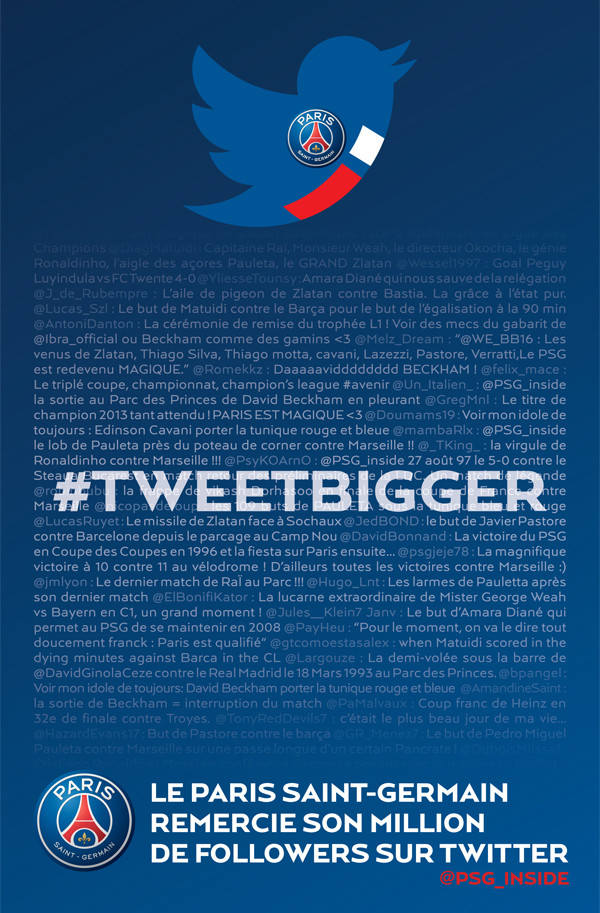 #tweetbigger psg twitter l'equipe 1 million followers