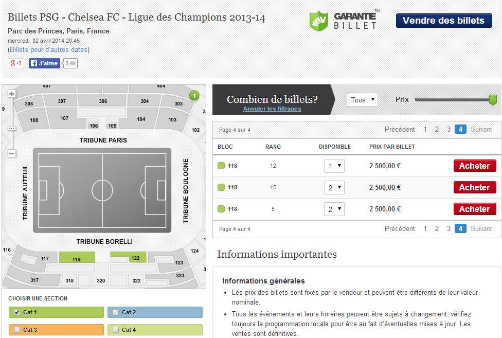 billets PSG Chelsea ligue des champions 2013 2014
