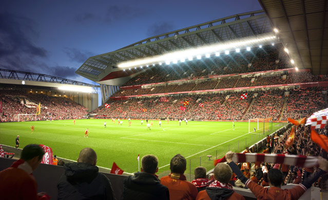 main stand anfield road 54 000 seats stadium