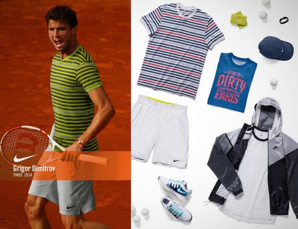 dimitrov outfit roland garros 2014 tennis tenue nike