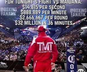 Boxe : 70M$ pour 36 minutes de combat, Floyd Mayweather s'en vante sur les réseaux sociaux