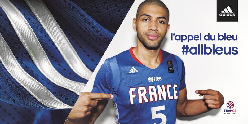 nouveau maillot à manches adidas basket équipe de france sleeves bleus batum