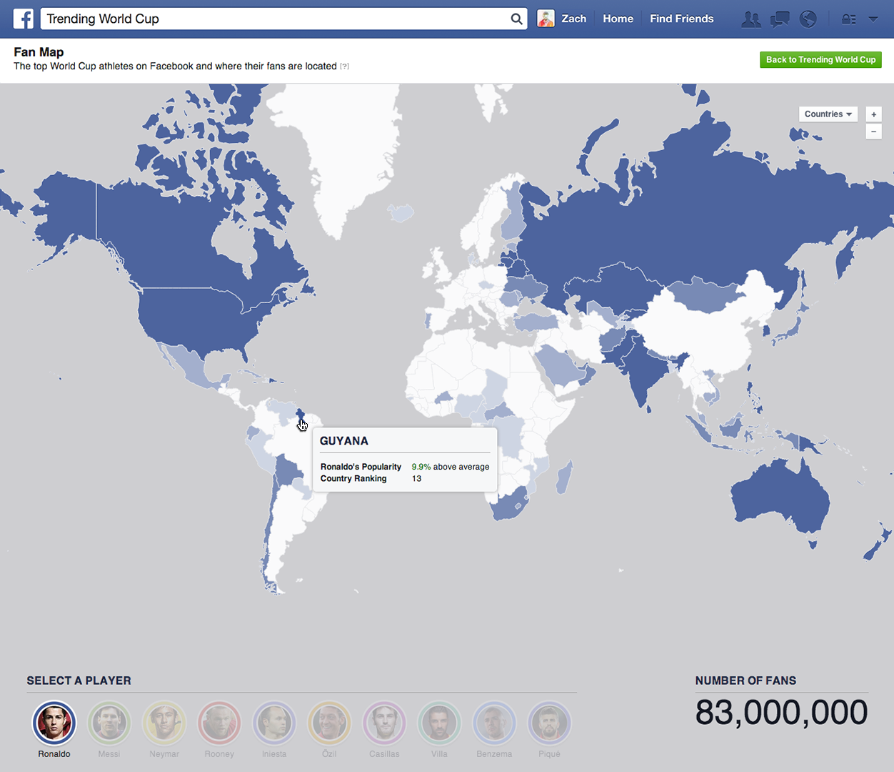 Coupe du monde 2014 quels sont les joueurs les plus populaires sur facebook - Carte coupe du monde 2014 ...