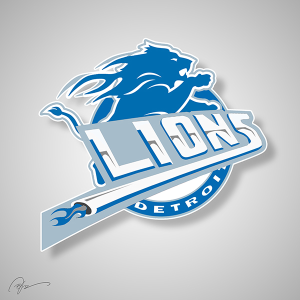 Detroit Lions X Detroit Pistons NBA NFL logo mashup