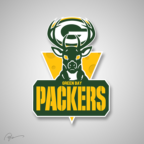 Green Bay Packers X Milwaukee Bucks nba NFL logo mashups