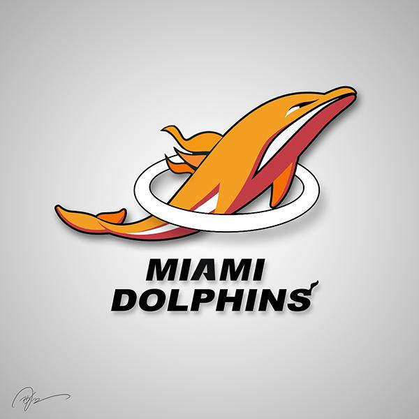 miami dolphins miami heat nfl nba logo mashup
