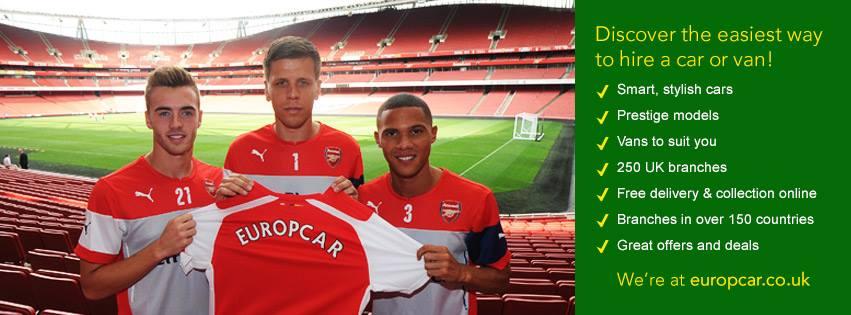 arsenal football club europcar UK sponsor
