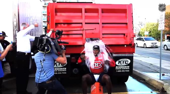 ice bucket challenge pk subban truck ice water