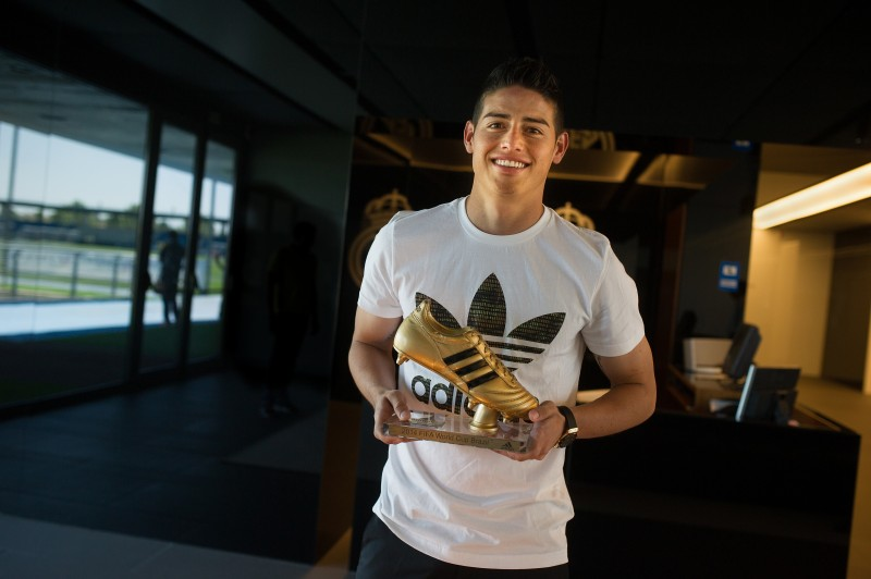 james rodriquez golden boots trophy real madrid adidas