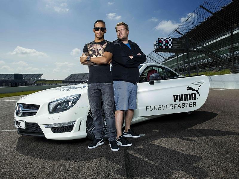 James Corden interviews Lewis Hamilton around the track at Rockingham Raceway for Puma Forever Speed 22/7/14