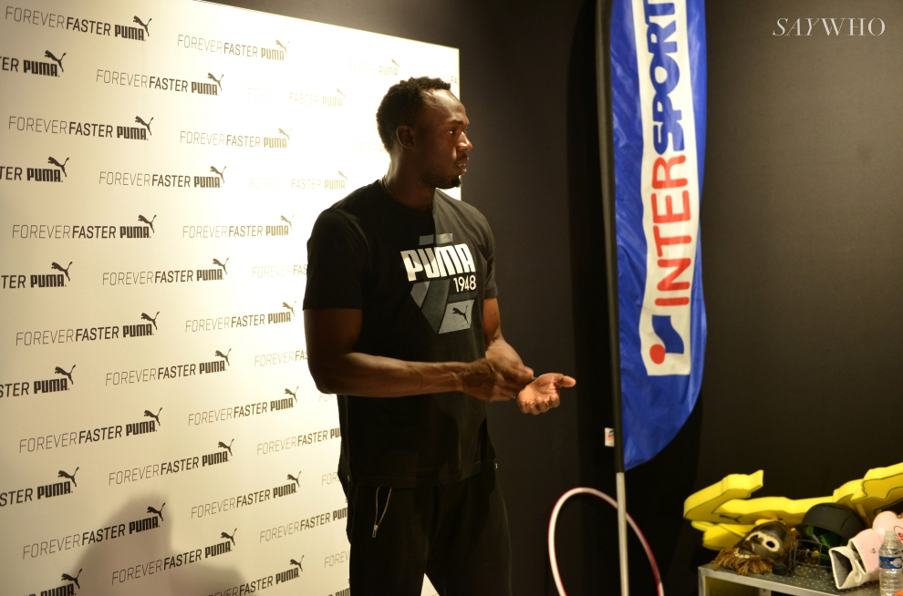 paris usain bolt intersport visite