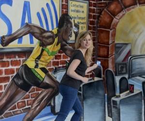 Usain Bolt en peinture 3D dans la gare de Waterloo pour promouvoir le paiement sans contact Visa dans les transports londoniens