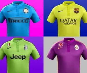 De la couleur pour les maillots third du FC Barcelone, de la Juve, de l'Inter Milan et de Galatasaray (Nike)