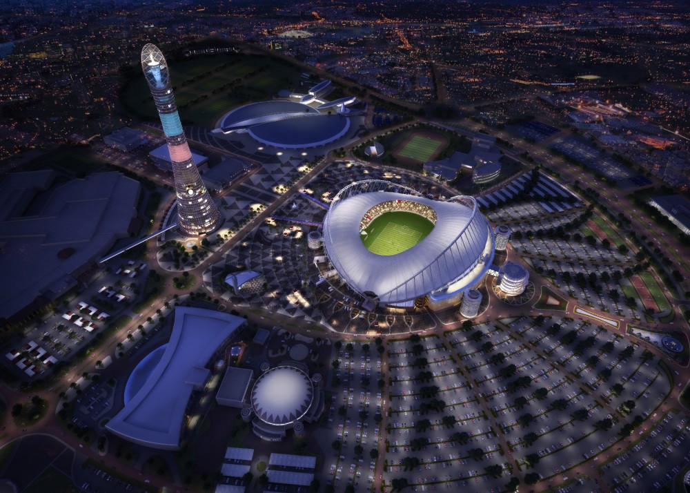 Khalifa International Stadium aerial view night