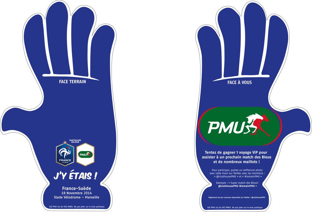 Main PMU equipe de france football stade vélodrome tifo