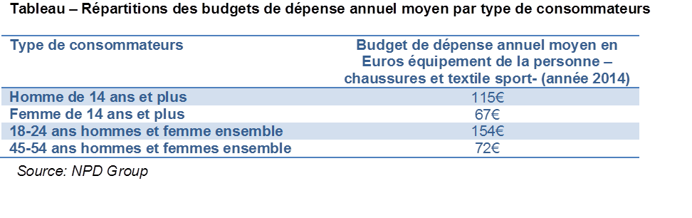 budget dépense annuel équipement sport en France 2014
