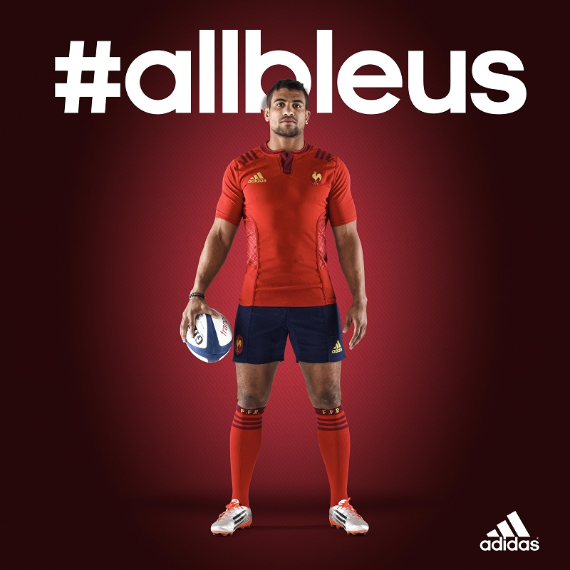 rugby nouveau maillot ext rieur rouge adidas du xv de france. Black Bedroom Furniture Sets. Home Design Ideas