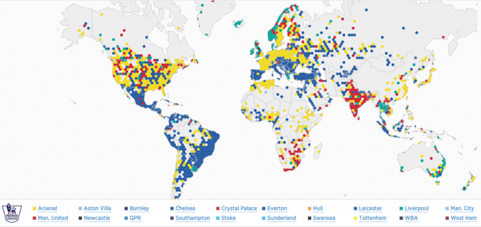 "Twitter lance la carte interactive ""premier league follower map"""