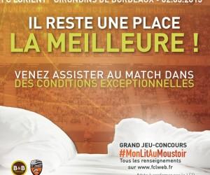 Fan Experience – B&B Hôtels installe un lit au stade du Moustoir pour le match FC Lorient – Bordeaux