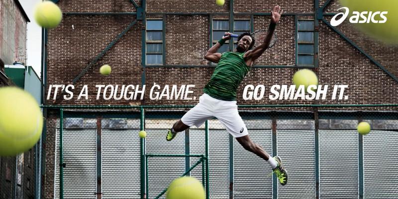 asics lance sa nouvelle campagne tennis avec ga l monfils et la publicit it s a tough game. Black Bedroom Furniture Sets. Home Design Ideas