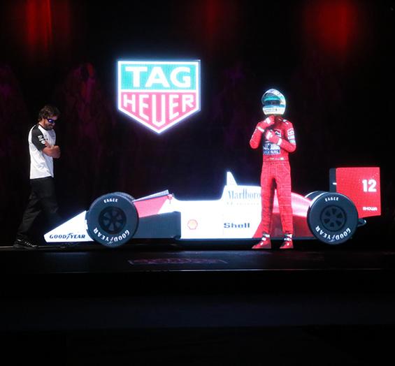 tag heuer Ayrton Senna hologramme fernando alonso