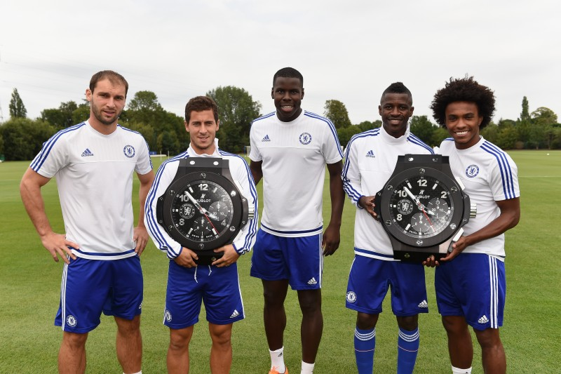 Chelsea's Branislav Ivanovic, Eden Hazard, Kurt Zouma, Ramires, Willian with Hublot Clocks at the Cobham Training Ground on 12th August 2015 in Cobham, England.