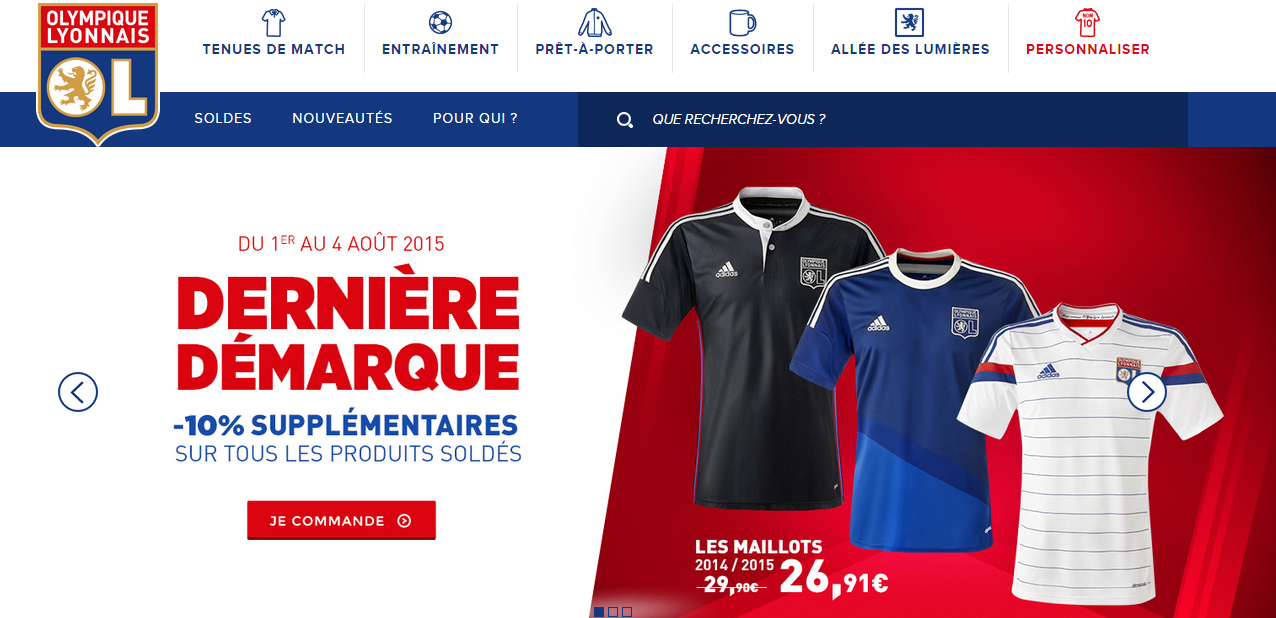 Maillot OL boutique
