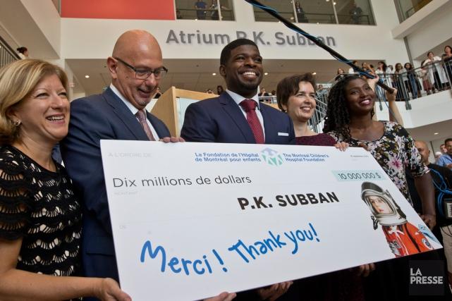 PK Subban 10 millions de dollars hopital de montréal canadiens NHL